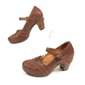 Dansko Reeny Cognac Leather Mary Jane Pumps Heels